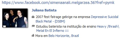 Detalhes falso perfil Juliana Batista - Antidemon